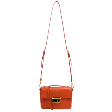 Prada Orange Saffiano Lux Small Sound Crossbody Bag