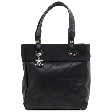 Chanel Black Coated Canvas Paris Biarritz Petite Tote