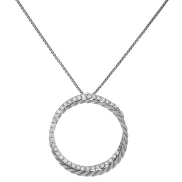 David Yurman Sterling Silver & 14K White Gold Diamond Crossover Circle Pendant Necklace