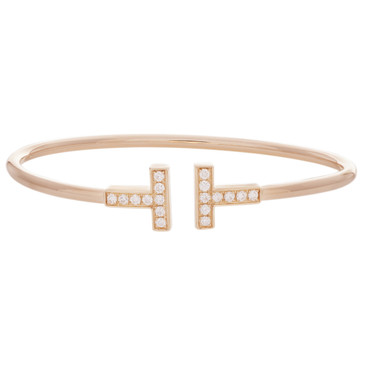 Tiffany & Co. 18K Rose Gold & Diamond T Wire Bracelet