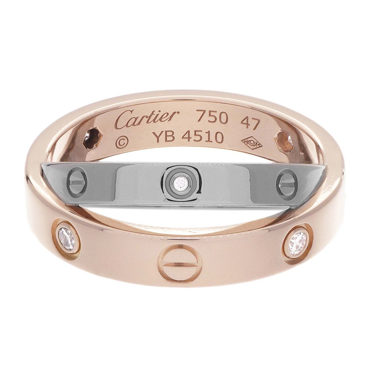 bf43bdc5a08a Cartier 18K Pink   White Gold 6 Diamond Love Ring - modaselle