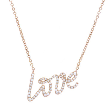 Tiffany & Co. 18K Rose Gold & Diamond Small Graffiti Love Pendant