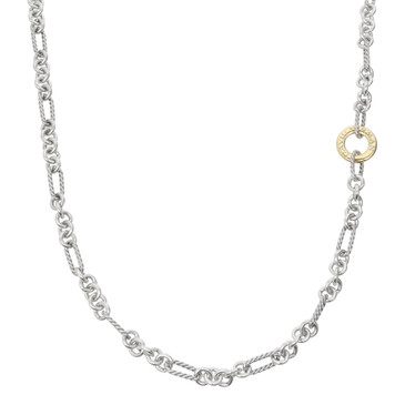 David Yurman Sterling Silver & 18K Yellow Gold Long Figaro Chain Necklace