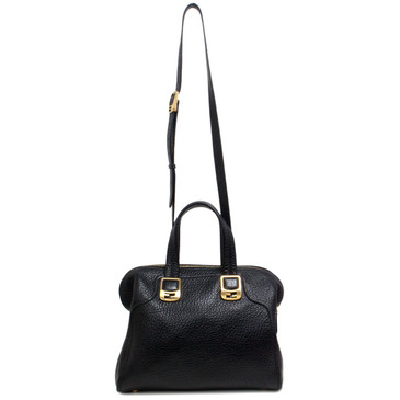 Fendi Black Grained Leather Chameleon Tote