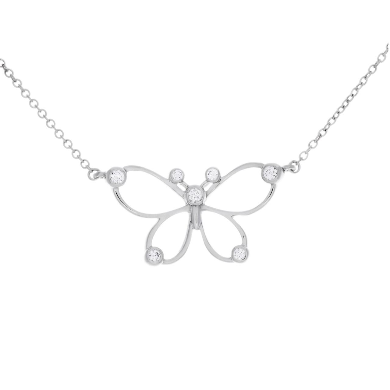 473bdf293 Tiffany & Co. Sterling Silver & Diamond Butterfly Necklace - modaselle