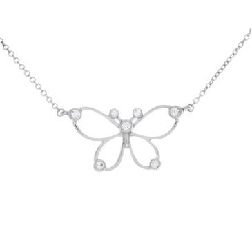 Tiffany & Co. Sterling Silver & Diamond Butterfly Necklace