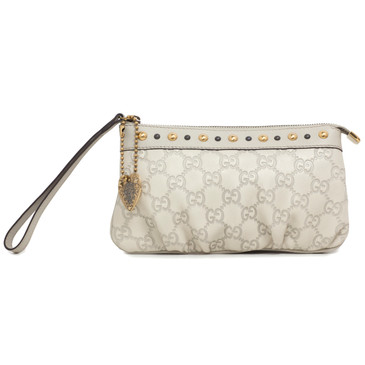 Gucci Ivory Guccissima Leather Babouska Wristlet Clutch