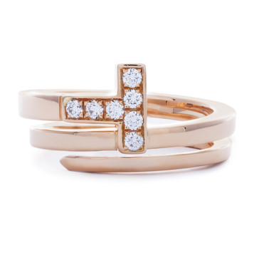 Tiffany & Co. 18K Rose Gold & Diamond T Wrap Ring
