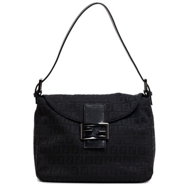 Fendi Black Zucchino Canvas Small Shoulder Bag