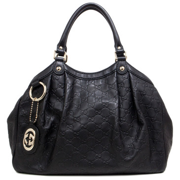 Gucci Black Guccissima Leather Medium Sukey Tote