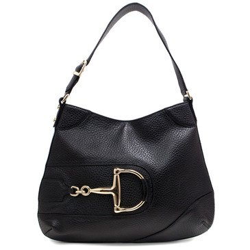 Gucci Black Leather Hasler Hobo