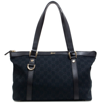 Gucci Black Monogram Canvas Medium Abbey Tote