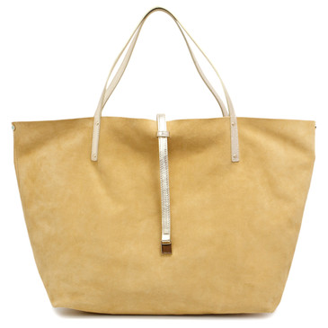 Tiffany & Co. Yellow Suede & Gold Reversible Leather Tote