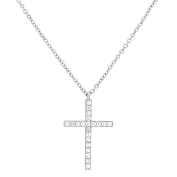 Tiffany & Co. 18K White Gold & Diamond Medium Metro Cross Pendant