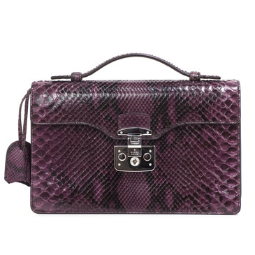 Gucci Python Lady Lock Briefcase Clutch