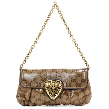 Gucci GG Crystal Coated Canvas Babouska Heart Clutch