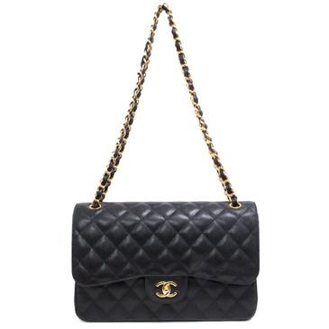 Chanel Black Caviar Jumbo Classic Double  Flap