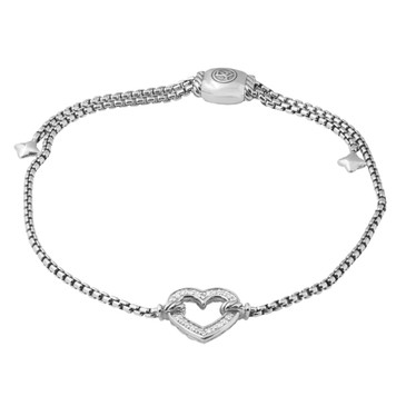 David Yurman Diamond Cable Collectibles Heart Station Bracelet