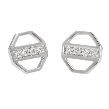 Tiffany & Co. 18K White Gold & Diamond Zellige Octagon Earrings
