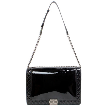 Chanel Black Patent Maxi Reverso Boy Bag