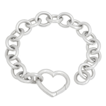 Tiffany & Co. Sterling Silver Round Link Heart  Bracelet