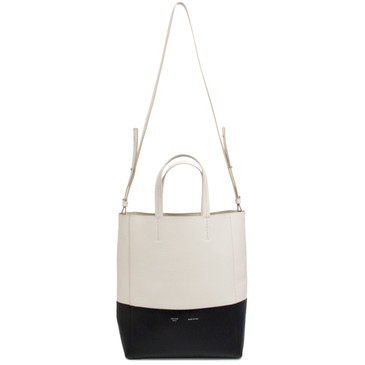 Celine Black & Ivory Grained Calfskin Small Vertical Cabas Tote
