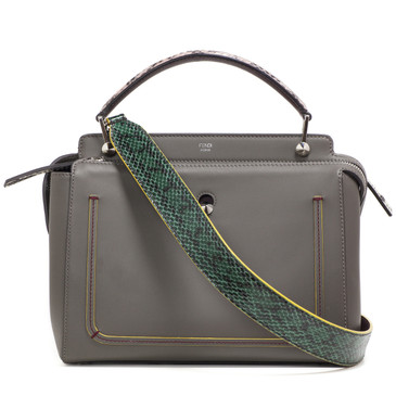 Fendi Grey Calfskin & Water Snake Dotcom Bag