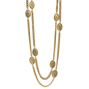 Chanel CC Crown Medallion   Necklace