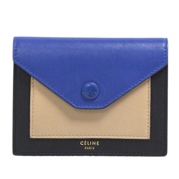 Celine Tricolor Calfskin Pocket Card Holder
