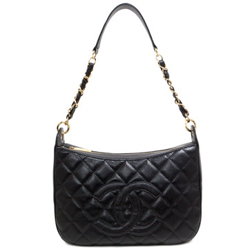 Chanel Black Caviar Timeless Chain Shoulder Bag