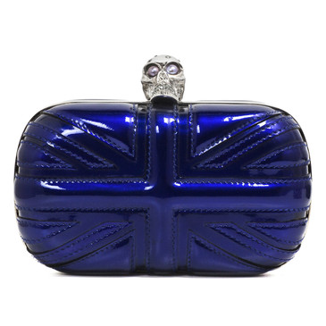 Alexander McQueen Blue Patent Britannia Skull Box Clutch