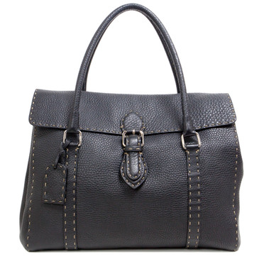 Fendi Black Selleria Leather Linda Tote