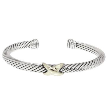 David Yurman Sterling Silver & 14K X Crossover  Bracelet
