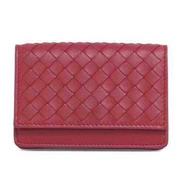 Bottega Veneta Red Intrecciato Nappa Card Holder