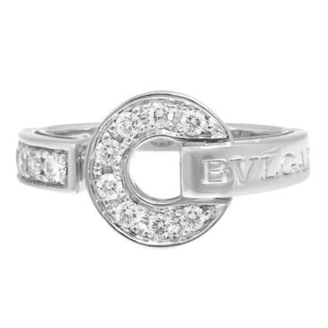 Bvlgari Bvlgari 18K White Gold Pave Diamond Ring