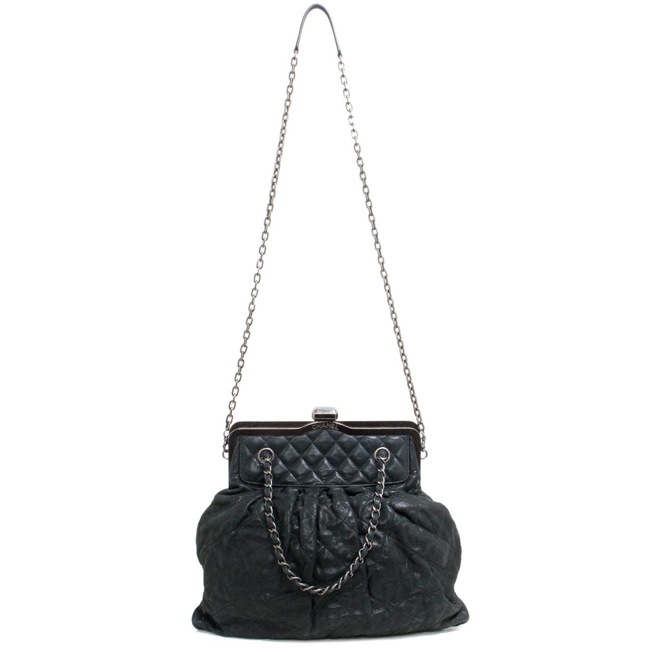8a0de6f913e242 Chanel Black Iridescent Calfskin Chic Quilt Frame Bag - modaselle