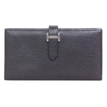 Hermes Black Chevre Bearn Gusset Wallet