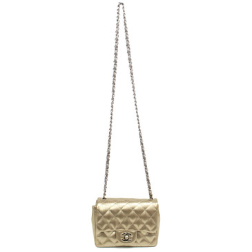 Chanel Gold Striated Patent Square Mini Flap