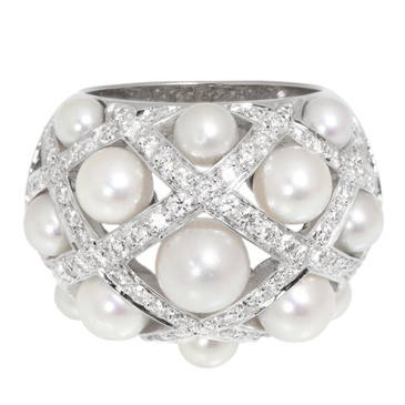 Chanel 18K White Gold, Diamond & Pearl Baroque Ring