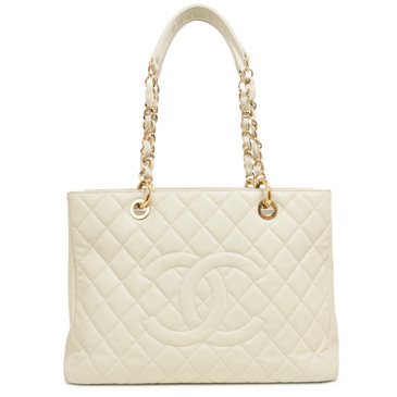 Chanel Ivory Caviar GST Grand Shopping Tote