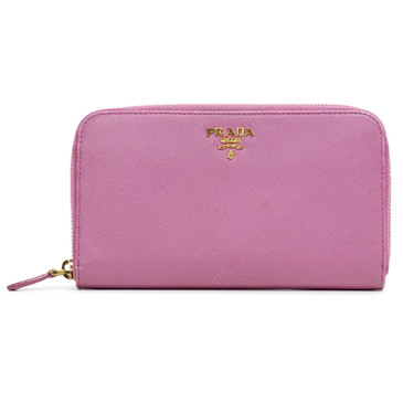 Prada Pink Saffiano Leather Zip Around Wallet