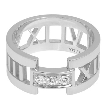 Tiffany & Co. 18K White Gold & Diamond Atlas Open Ring