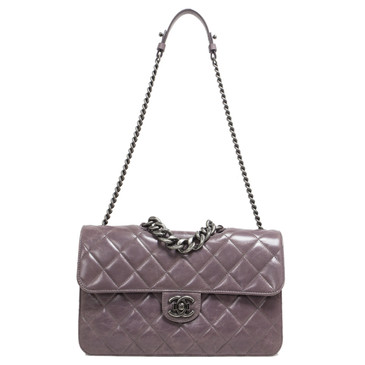 Chanel Purple Quilted Calfskin Medium Perfect Edge Flap