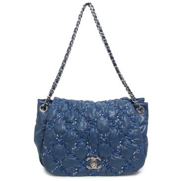 Chanel Blue Nylon Tweed Stitch Bubble Flap Bag