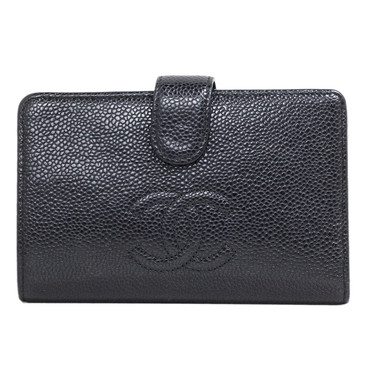Chanel Black Caviar Timeless Zipped Pocket Wallet