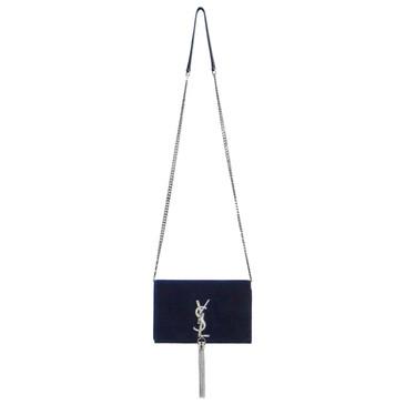 Saint Laurent Velvet Crystal Kate Chain & Tassel Wallet