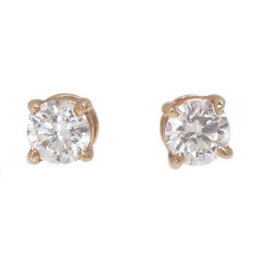 Tiffany & Co 18K Rose Gold Solitaire Diamond Earrings