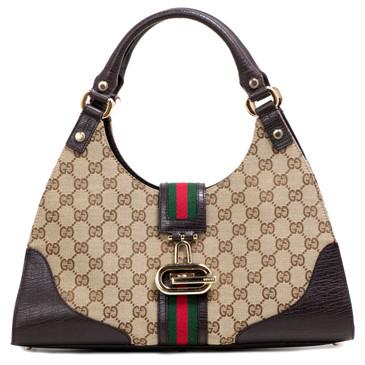 Gucci Dark Brown Monogram Web Junco Shoulder Bag