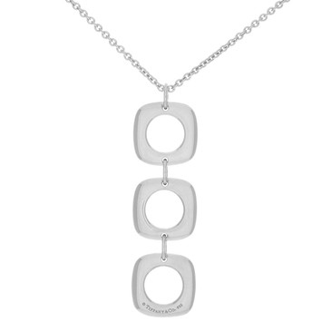 Tiffany & Co. Sterling Silver Square Cushion Drop Necklace