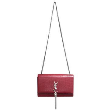 Saint Laurent Red Crocodile Embossed Medium Kate Tassel Chain Bag